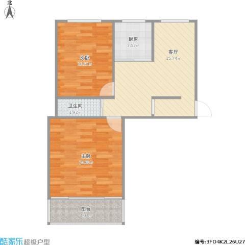 居安里2室1厅1卫1厨69.00㎡户型图