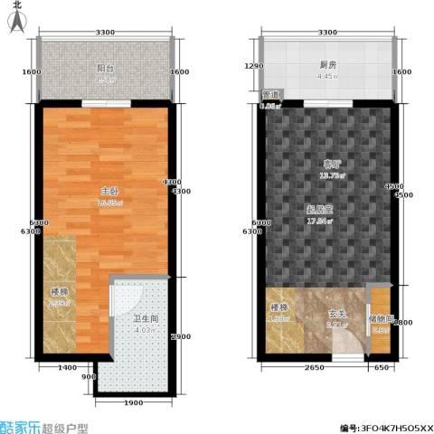 尚东国际城1室0厅1卫1厨47.80㎡户型图