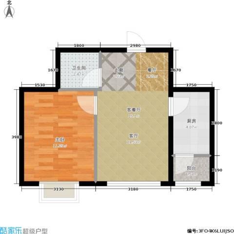 格兰云天1室1厅1卫1厨50.00㎡户型图
