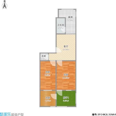 华侨路小区3室1厅1卫1厨70.00㎡户型图