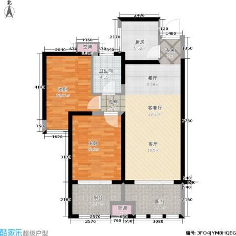 中天锦庭2室1厅1卫1厨88.00㎡户型图