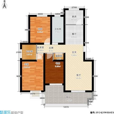 丽湾岛3室0厅2卫1厨117.00㎡户型图
