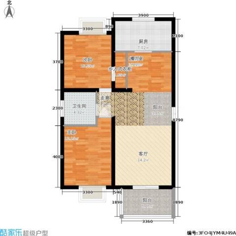 丽湾岛2室0厅1卫1厨92.00㎡户型图