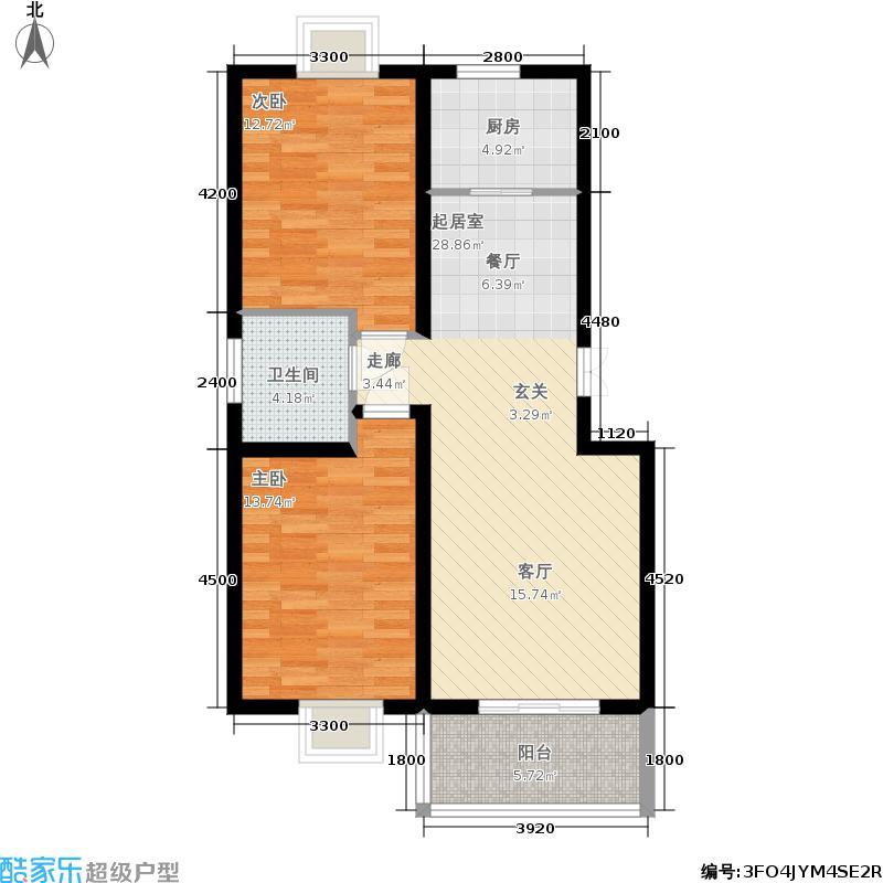 丽湾岛91.62㎡11#楼标准层户型