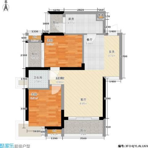 安鸿景苑2室0厅1卫1厨67.84㎡户型图
