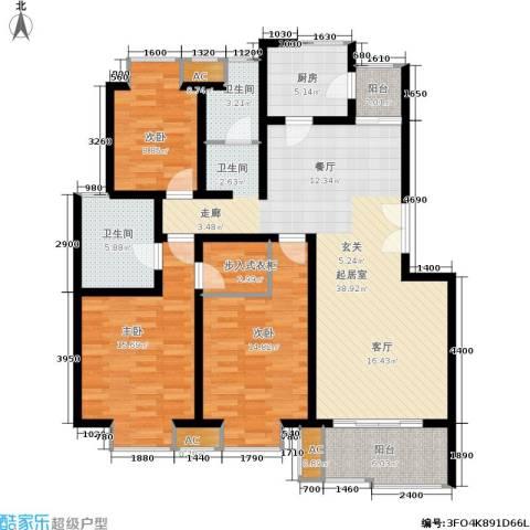 北京青年城3室0厅2卫1厨122.00㎡户型图