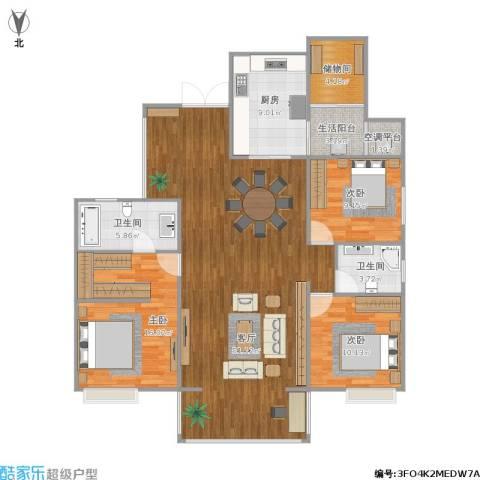 峰度天下3室1厅2卫1厨153.00㎡户型图