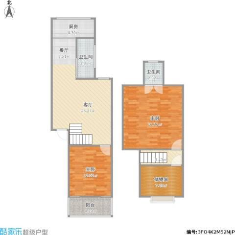 银轮花园2室1厅2卫1厨115.00㎡户型图