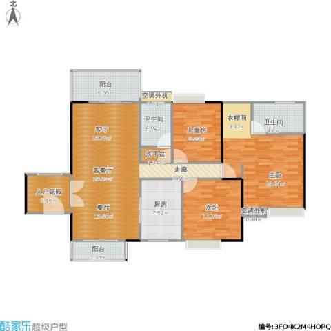 惠阳东方新城3室1厅2卫1厨161.00㎡户型图