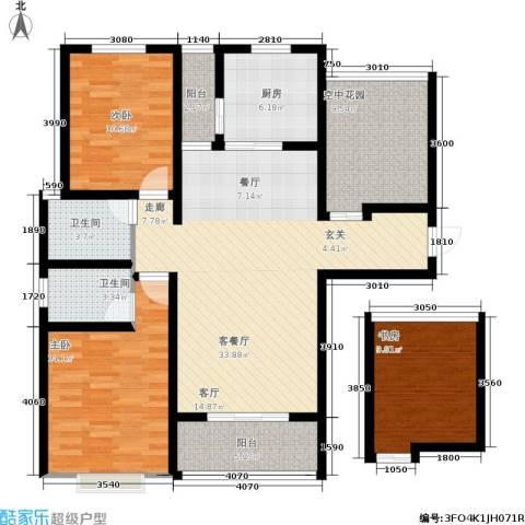 曲江・国风世家3室1厅2卫1厨113.00㎡户型图