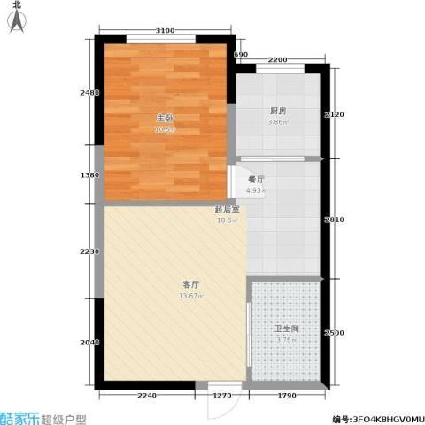渤海山水云天1室0厅1卫1厨52.00㎡户型图