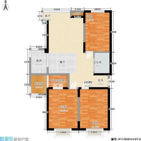 渤海山水云天3室0厅2卫1厨122.00㎡户型图
