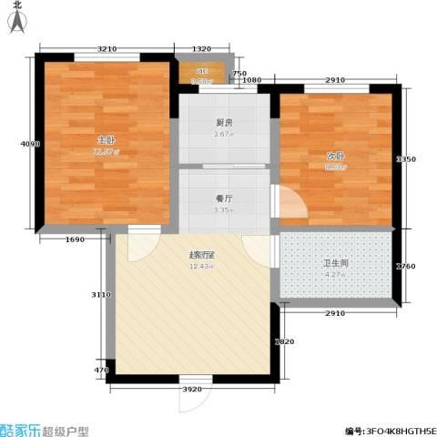 渤海山水云天2室0厅1卫1厨64.00㎡户型图