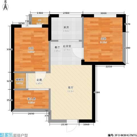 渤海山水云天3室0厅0卫1厨62.00㎡户型图
