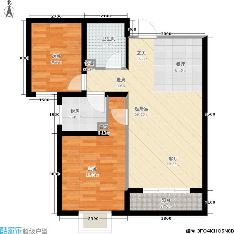 外滩森林86.48㎡3号楼1、2单元D户型2室2厅