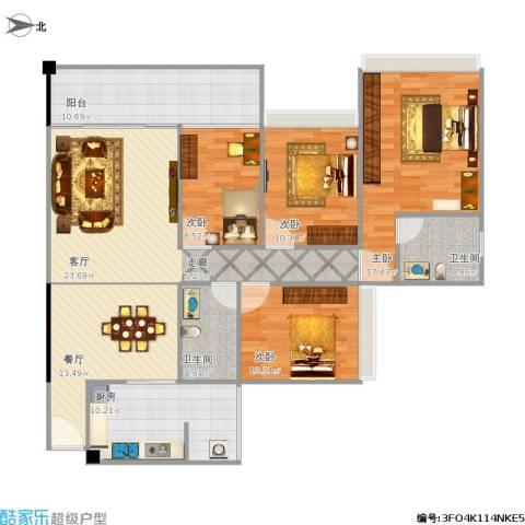 雅居乐・铂爵山4室2厅2卫1厨154.00㎡户型图
