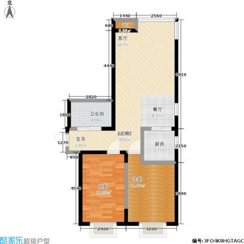渤海山水云天2室0厅1卫1厨88.00㎡户型图