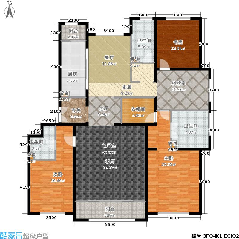 海河大观212.00㎡高层标准层户型3室3厅