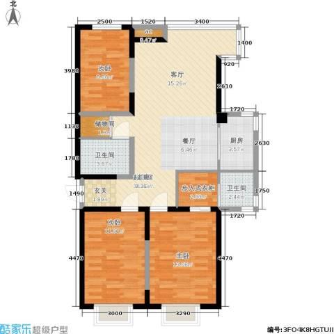 渤海山水云天3室0厅2卫1厨114.00㎡户型图