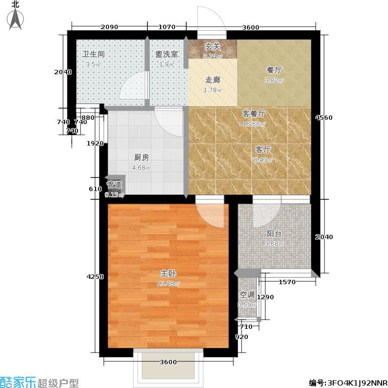 冠城大通蓝郡49.51㎡冠城新地家园一期02号楼标准层M户型1室2厅