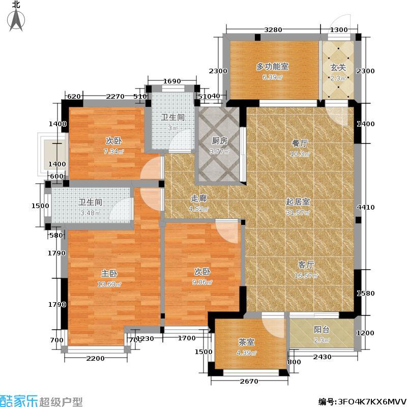 康诗丹郡110.00㎡C、D栋三房两厅两卫户型3室2厅2卫