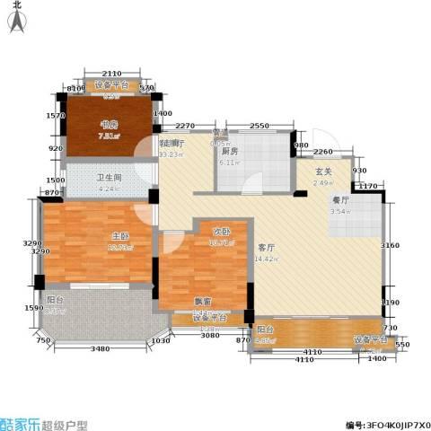 金地松江艺境3室1厅1卫1厨103.00㎡户型图