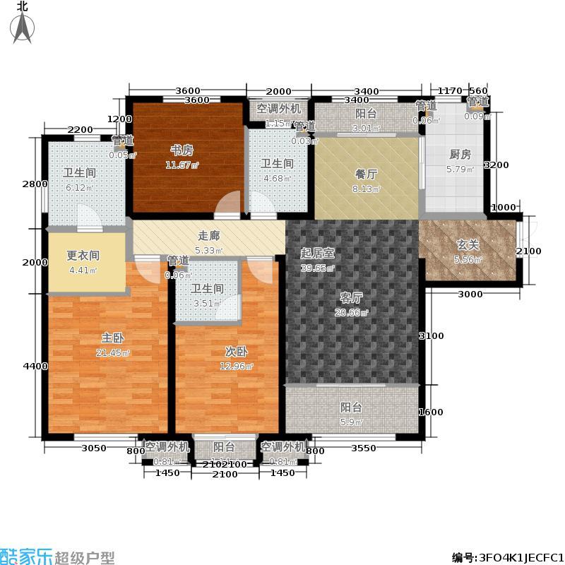 海河大观163.00㎡高层标准层户型3室2厅