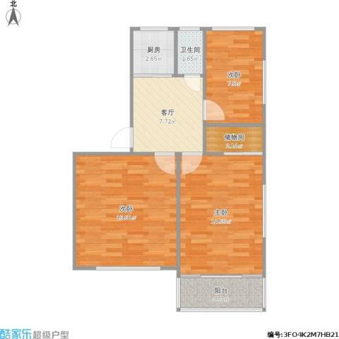 居安里3室1厅1卫1厨77.00㎡户型图