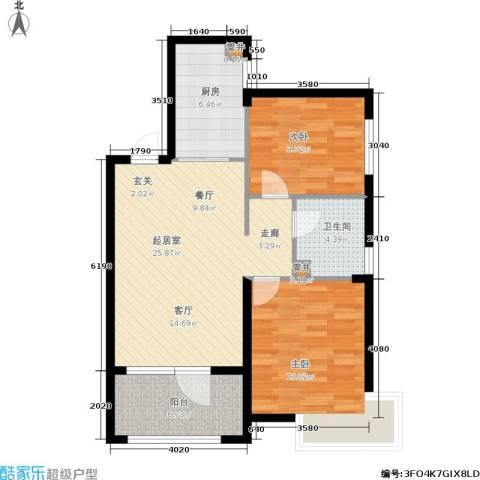 蜜橙2室0厅1卫1厨75.00㎡户型图