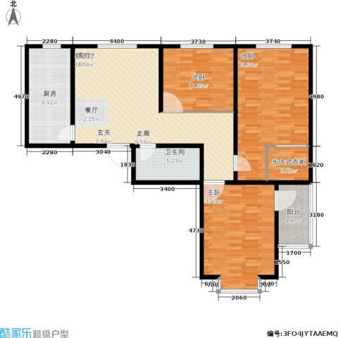 吉隆公寓3室1厅1卫1厨112.00㎡户型图