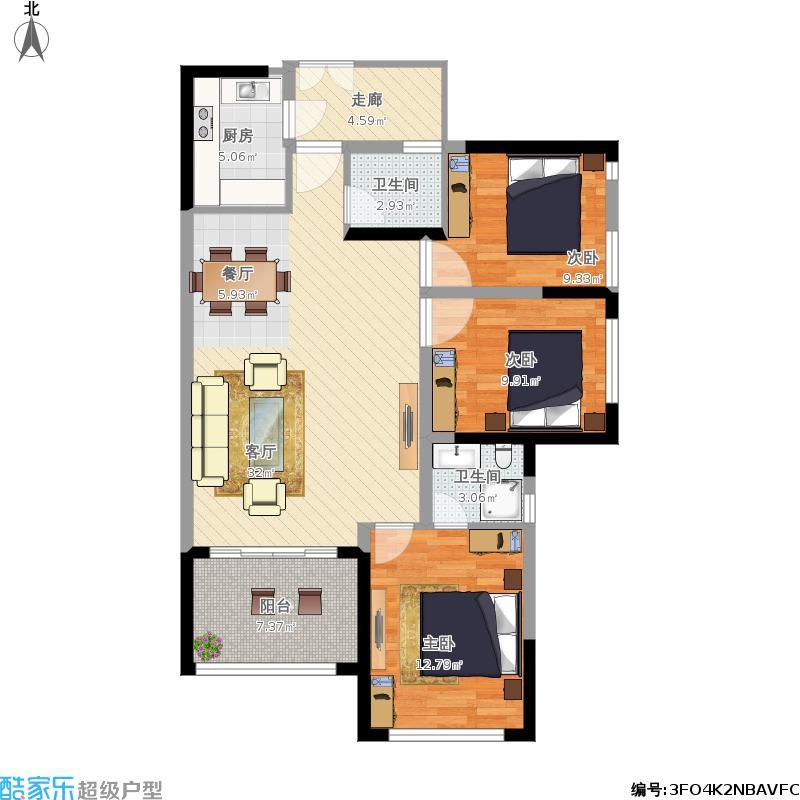 G户型3室2厅2卫客厅大