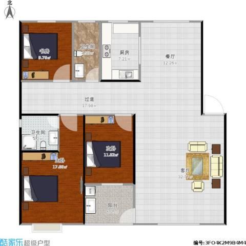 丹桂苑3室1厅2卫1厨166.00㎡户型图
