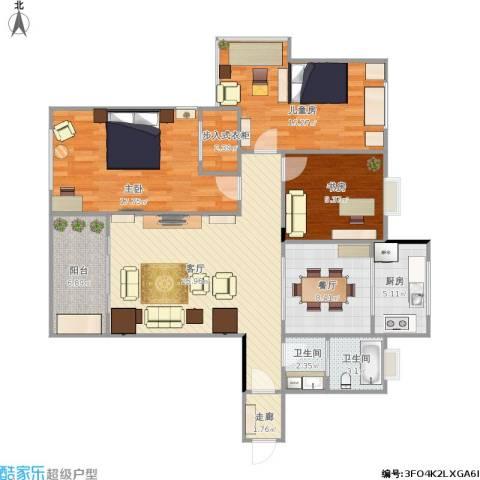 泰和天成3室2厅2卫1厨136.00㎡户型图