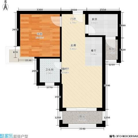 凯旋帝景1室1厅1卫1厨62.00㎡户型图