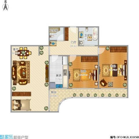 天创世缘2室1厅2卫1厨129.00㎡户型图