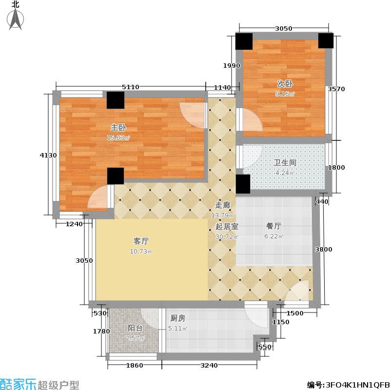 荣昌东方广场86.00㎡4#楼06单元、6#楼01单元2室户型