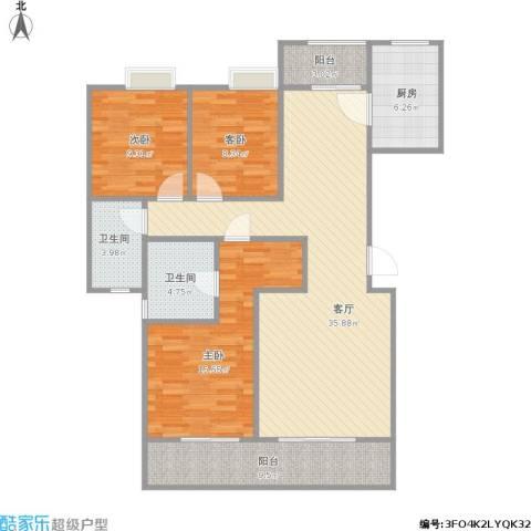 中信森林湖香樟林3室1厅2卫1厨123.00㎡户型图