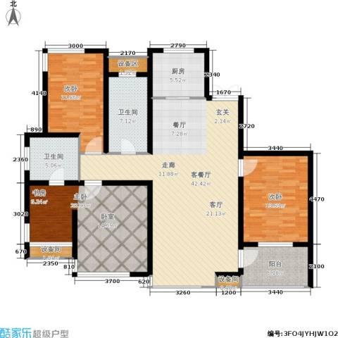 松江运河城3室1厅2卫1厨161.00㎡户型图
