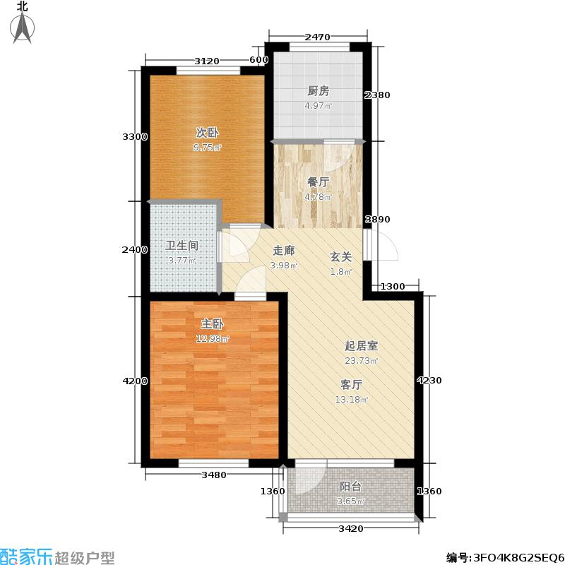 盈胜7080盈胜7080两室两厅一卫面积约81平米户型图户型2室2厅1卫
