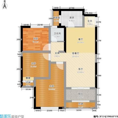 高科麓湾国际社区3室1厅1卫1厨88.00㎡户型图