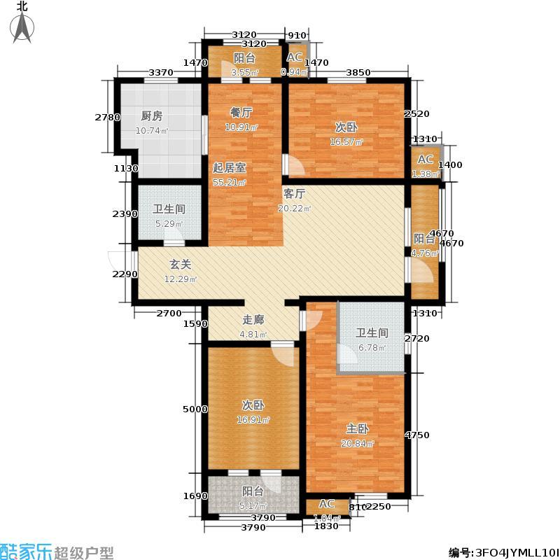 瓏府壹号168.39㎡�府壹号一期高层1、2号楼标准层A1-3户型