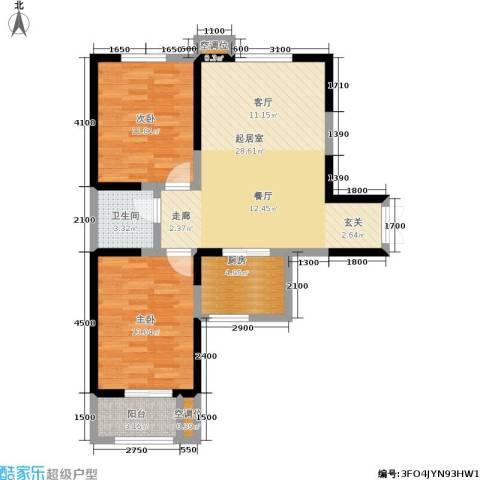 圣地亚哥2室0厅1卫1厨95.00㎡户型图
