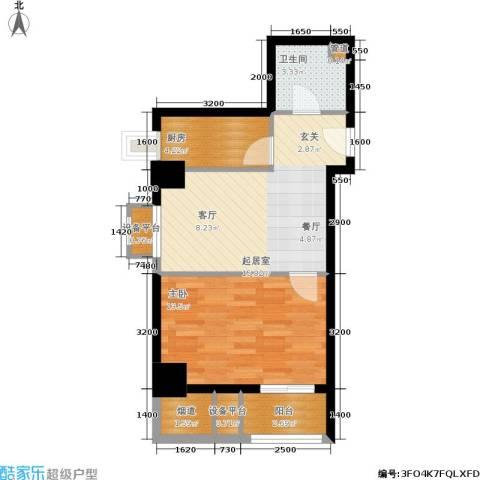 金竹首府1室0厅1卫1厨63.00㎡户型图