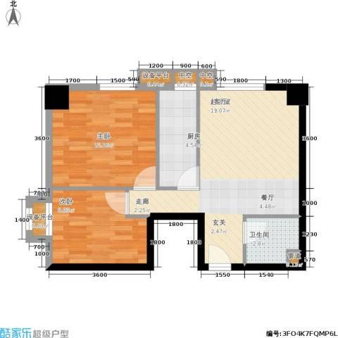 金竹首府2室0厅1卫1厨76.00㎡户型图