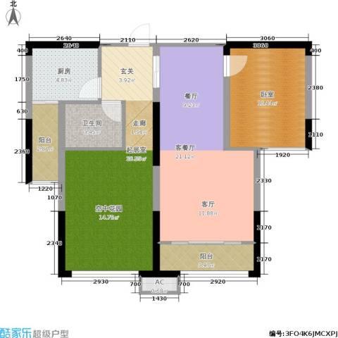 中岛明珠1厅1卫1厨96.00㎡户型图