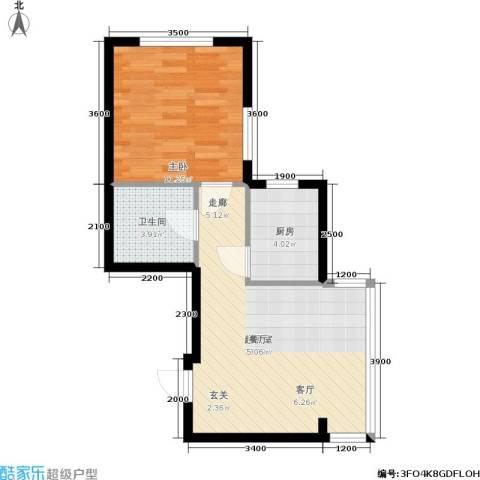 锦绣江南1室0厅1卫1厨53.00㎡户型图