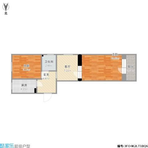 西八里庄北里2室1厅1卫1厨65.00㎡户型图