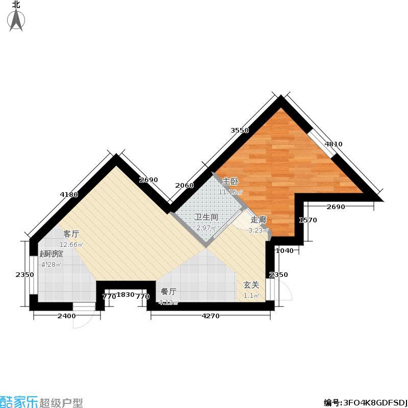 伯爵盛世纪65.39㎡伯爵・盛世纪G户型65.39平米一室两厅一卫约65.39平米户型图户型1室2厅1卫