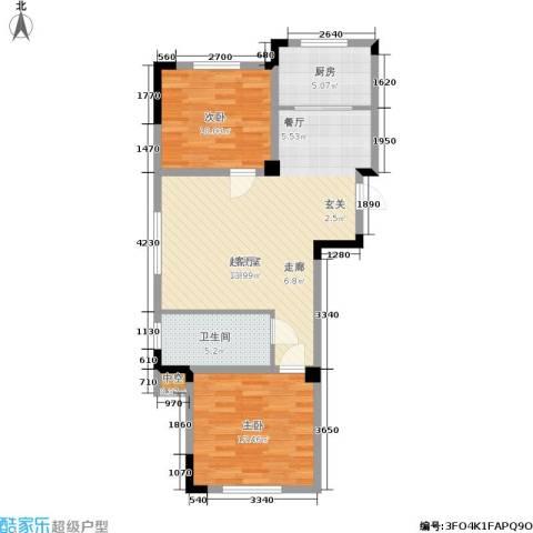 澳海澜郡2室0厅1卫1厨71.00㎡户型图