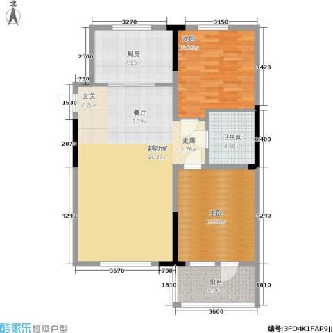 澳海澜郡2室0厅1卫1厨88.00㎡户型图